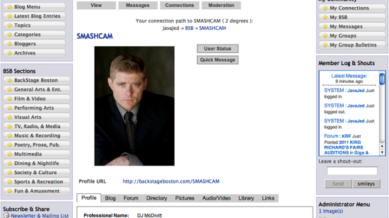 Profile Page (top)